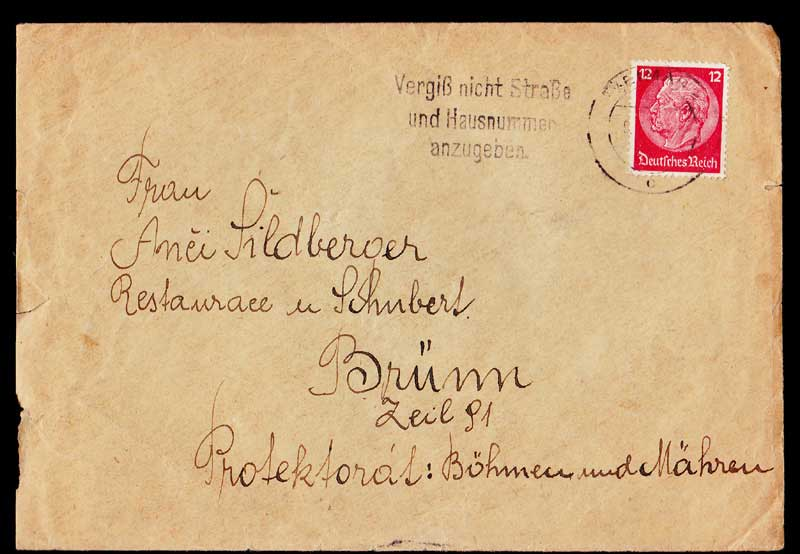 BUCHENWALD CONCENTRATION CAMP 1934 Hindenburg Definitive Issue .. Red 12Pf (Mi #519) Stamps Covers